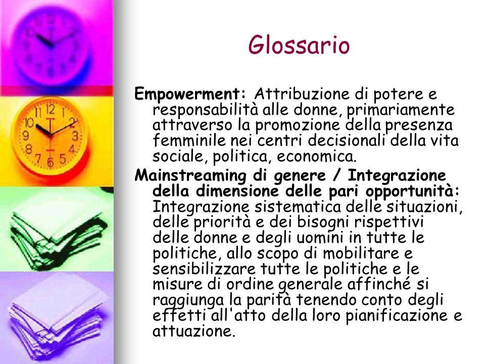 Glossario Empowerment: Attribuzione di potere e responsabilità alle donne, primariamente attraverso la promozione della presenza femminile nei centri