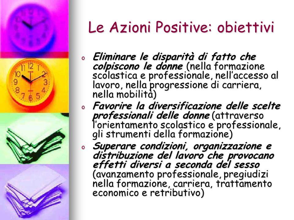 Le Azioni Positive: obiettivi o Eliminare le disparità di fatto che colpiscono le donne (nella formazione scolastica e professionale, nellaccesso al l