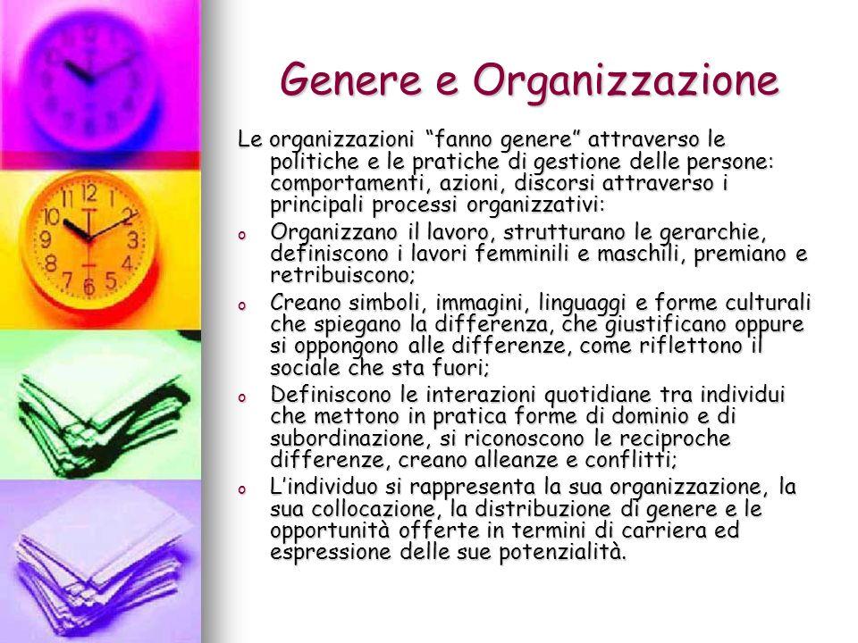 Genere e Organizzazione Le organizzazioni fanno genere attraverso le politiche e le pratiche di gestione delle persone: comportamenti, azioni, discors
