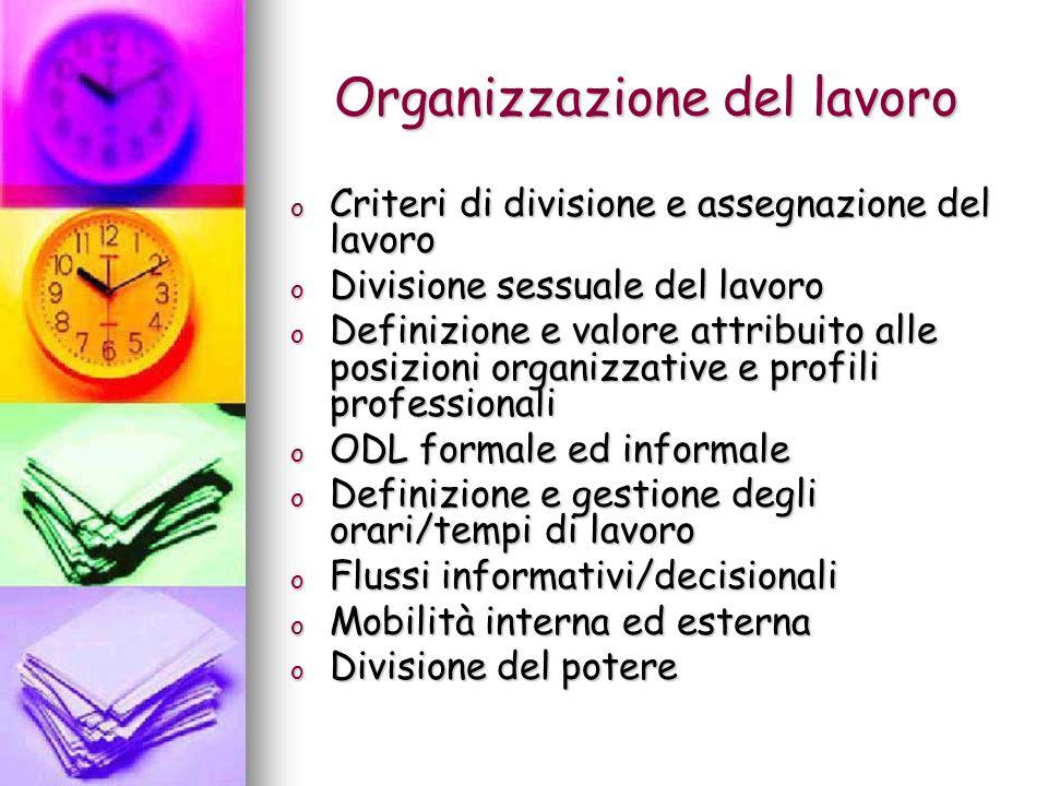 Organizzazione del lavoro o Criteri di divisione e assegnazione del lavoro o Divisione sessuale del lavoro o Definizione e valore attribuito alle posi