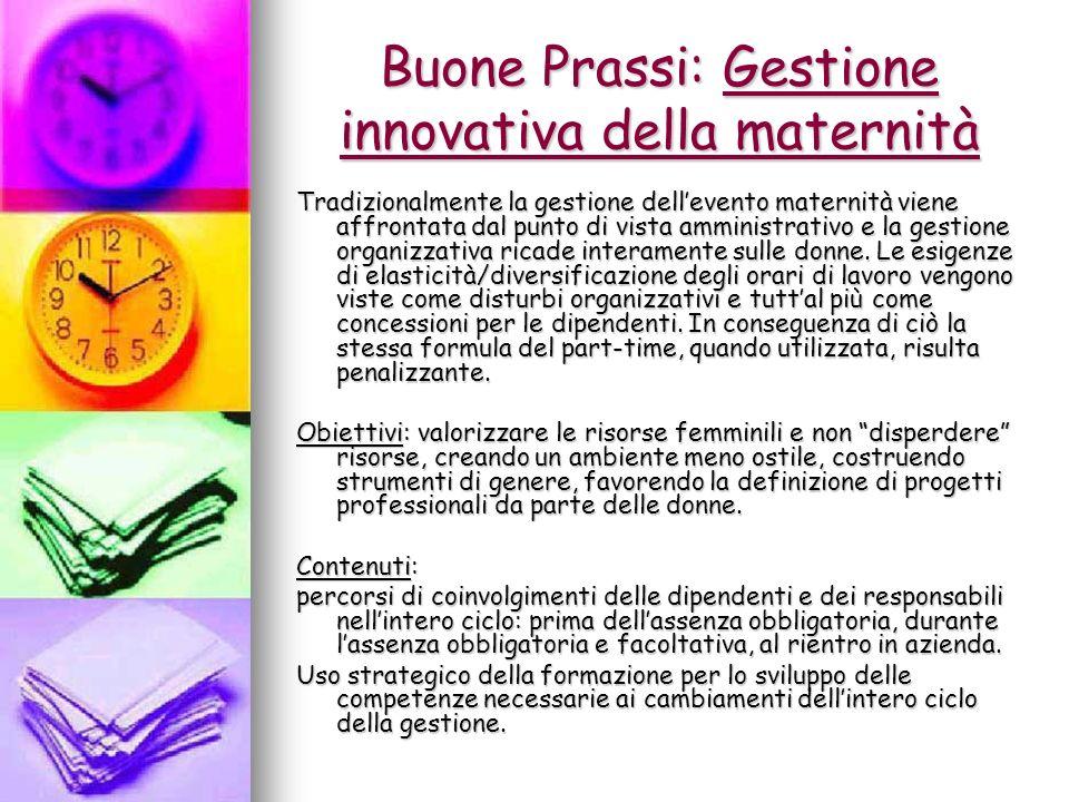 Buone Prassi: Gestione innovativa della maternità Tradizionalmente la gestione dellevento maternità viene affrontata dal punto di vista amministrativo