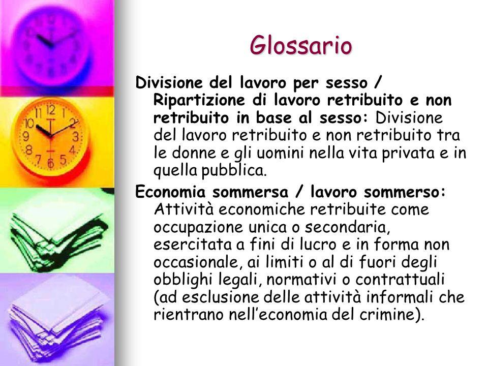 Glossario Divisione del lavoro per sesso / Ripartizione di lavoro retribuito e non retribuito in base al sesso: Divisione del lavoro retribuito e non