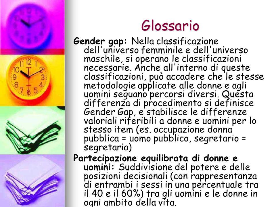Glossario Gender gap: Nella classificazione dell'universo femminile e dell'universo maschile, si operano le classificazioni necessarie. Anche all'inte