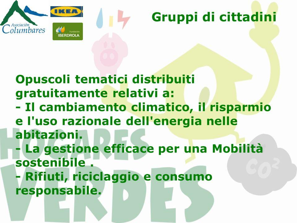 Gruppi di cittadini Opuscoli tematici distribuiti gratuitamente relativi a: - Il cambiamento climatico, il risparmio e l'uso razionale dell'energia ne