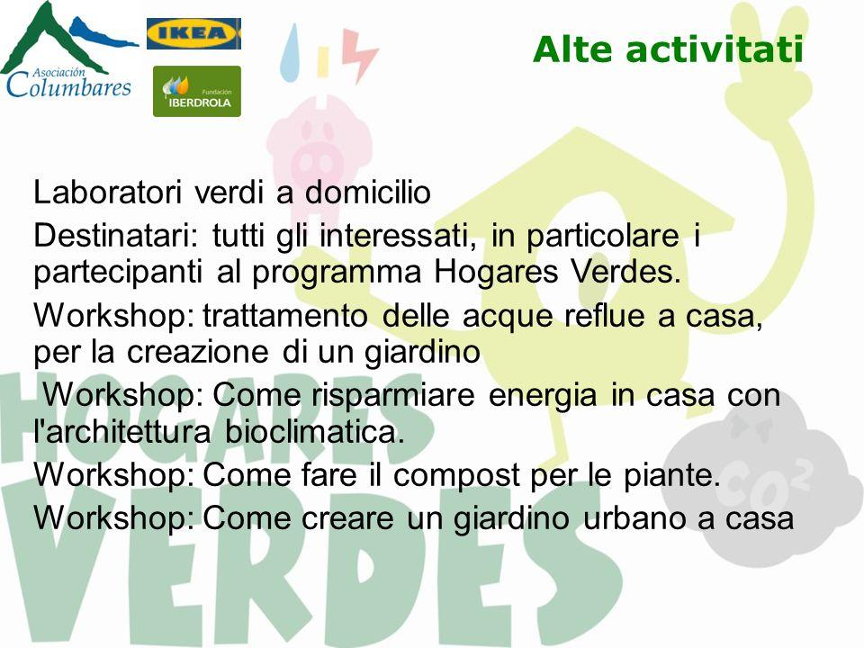 Alte activitati Laboratori verdi a domicilio Destinatari: tutti gli interessati, in particolare i partecipanti al programma Hogares Verdes. Workshop: