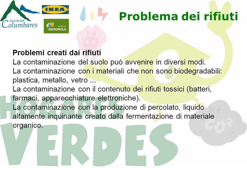 Problema dei rifiuti Problemi creati dai rifiuti La contaminazione del suolo può avvenire in diversi modi. La contaminazione con i materiali che non s