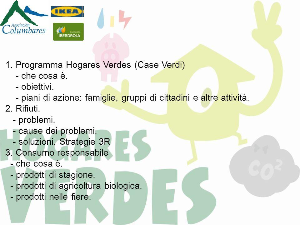 1. Programma Hogares Verdes (Case Verdi) - che cosa è. - obiettivi. - piani di azione: famiglie, gruppi di cittadini e altre attività. 2. Rifiuti. - p