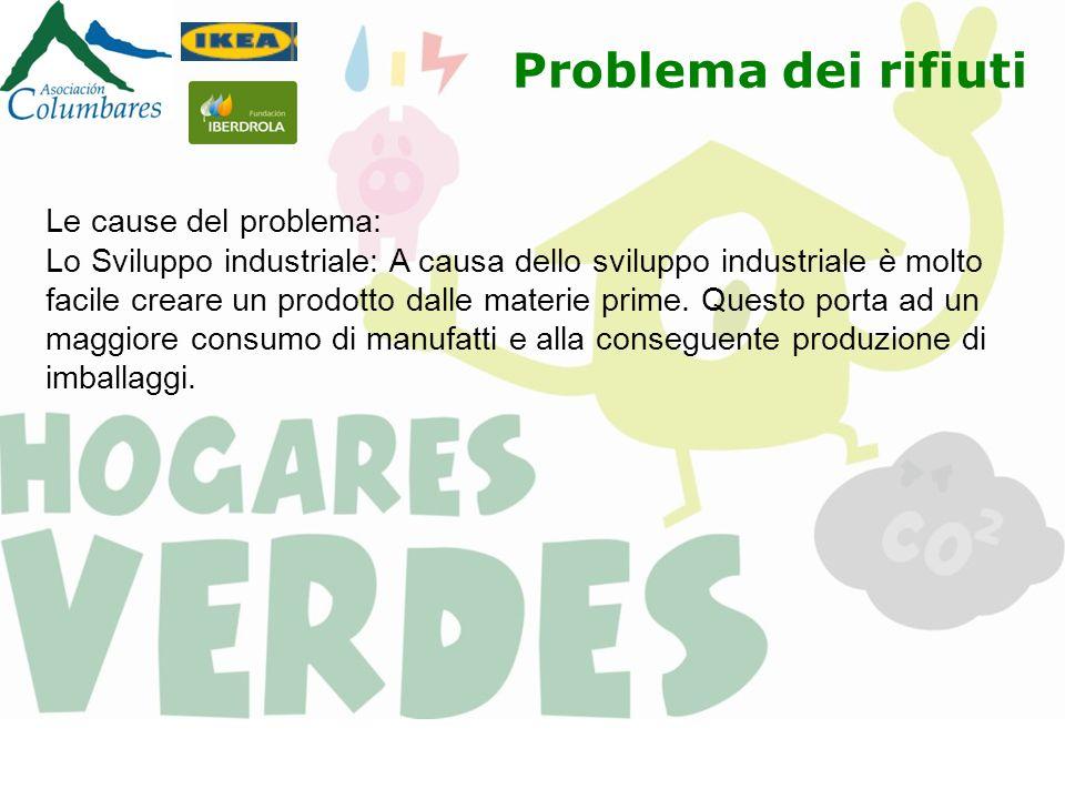 Problema dei rifiuti Le cause del problema: Lo Sviluppo industriale: A causa dello sviluppo industriale è molto facile creare un prodotto dalle materi