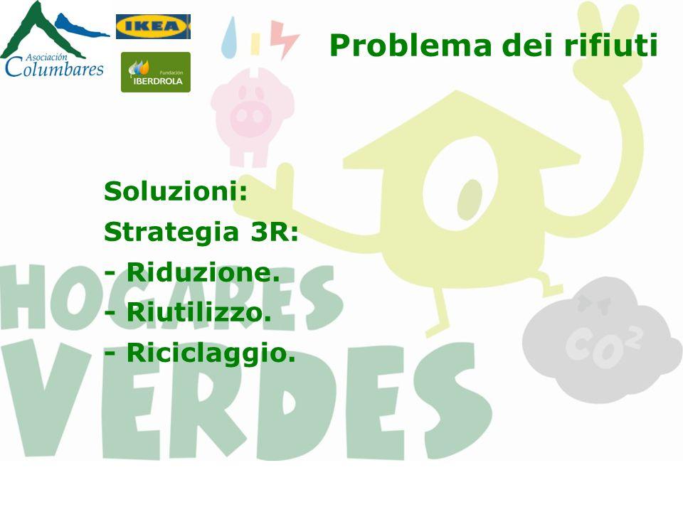 Problema dei rifiuti Soluzioni: Strategia 3R: - Riduzione. - Riutilizzo. - Riciclaggio.