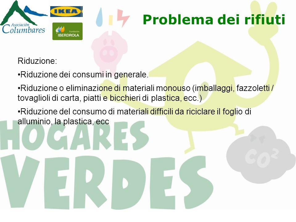 Riduzione: Riduzione dei consumi in generale. Riduzione o eliminazione di materiali monouso (imballaggi, fazzoletti / tovaglioli di carta, piatti e bi