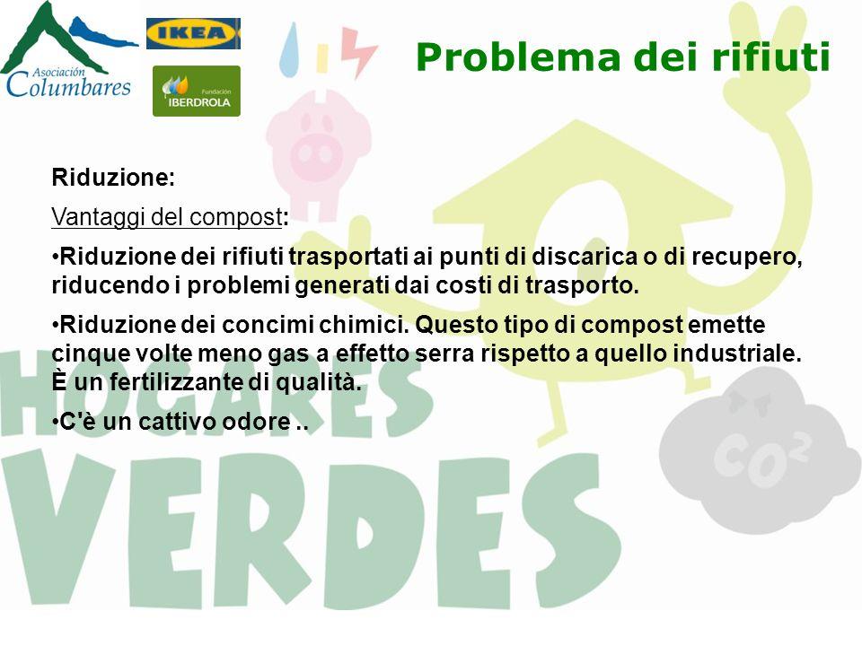 Riduzione: Vantaggi del compost: Riduzione dei rifiuti trasportati ai punti di discarica o di recupero, riducendo i problemi generati dai costi di tra