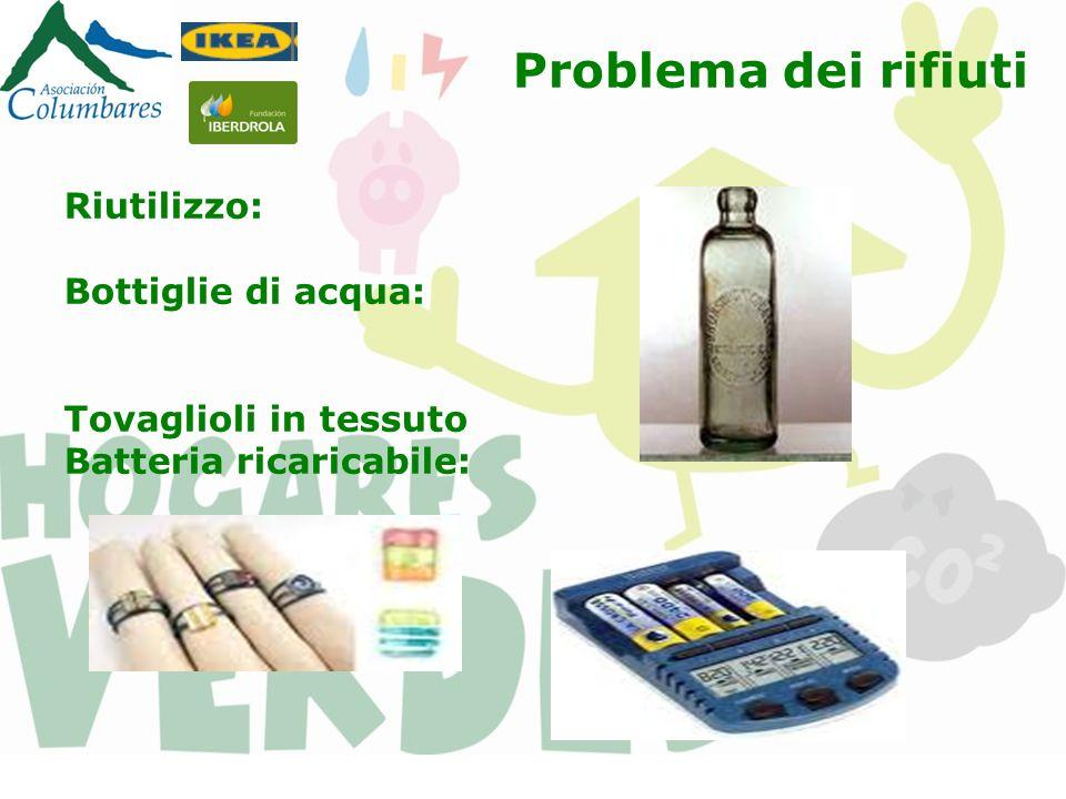 Riutilizzo: Bottiglie di acqua: Tovaglioli in tessuto Batteria ricaricabile: Problema dei rifiuti