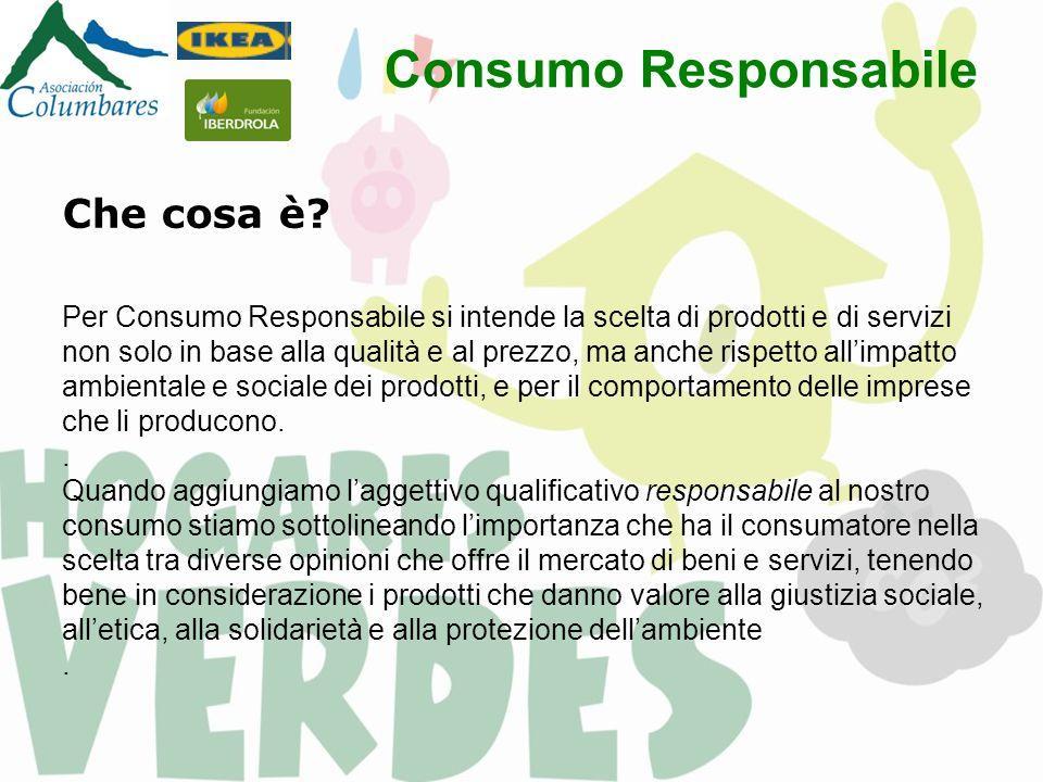 Consumo Responsabile Che cosa è? Per Consumo Responsabile si intende la scelta di prodotti e di servizi non solo in base alla qualità e al prezzo, ma