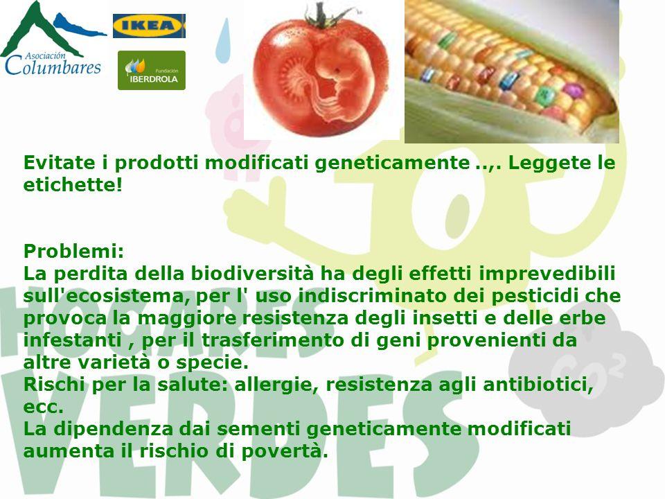 Evitate i prodotti modificati geneticamente..,. Leggete le etichette! Problemi: La perdita della biodiversità ha degli effetti imprevedibili sull'ecos