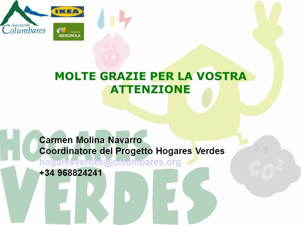 Click to edit Master subtitle style MOLTE GRAZIE PER LA VOSTRA ATTENZIONE Carmen Molina Navarro Coordinatore del Progetto Hogares Verdes hogaresverdes