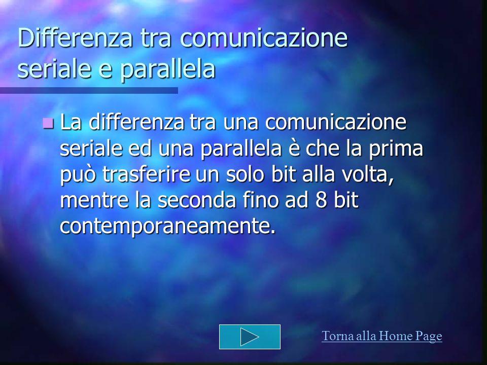 Differenza tra comunicazione seriale e parallela La differenza tra una comunicazione seriale ed una parallela è che la prima può trasferire un solo bi
