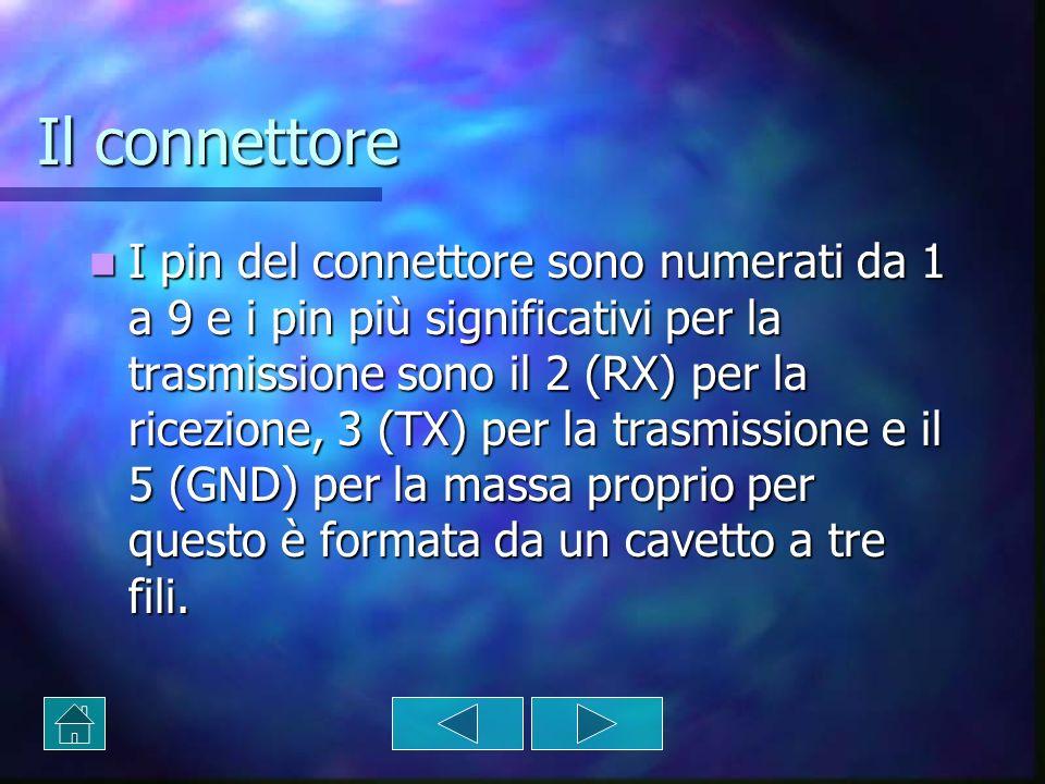 Il connettore I pin del connettore sono numerati da 1 a 9 e i pin più significativi per la trasmissione sono il 2 (RX) per la ricezione, 3 (TX) per la