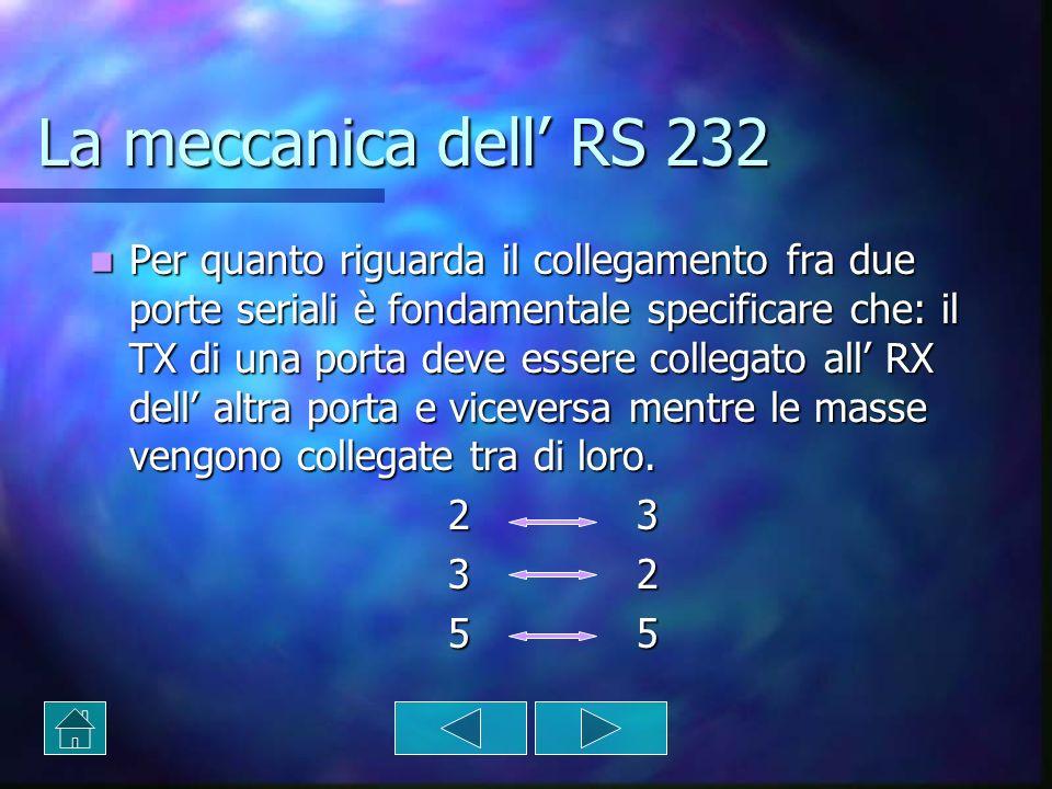 La meccanica dell RS 232 Per quanto riguarda il collegamento fra due porte seriali è fondamentale specificare che: il TX di una porta deve essere coll