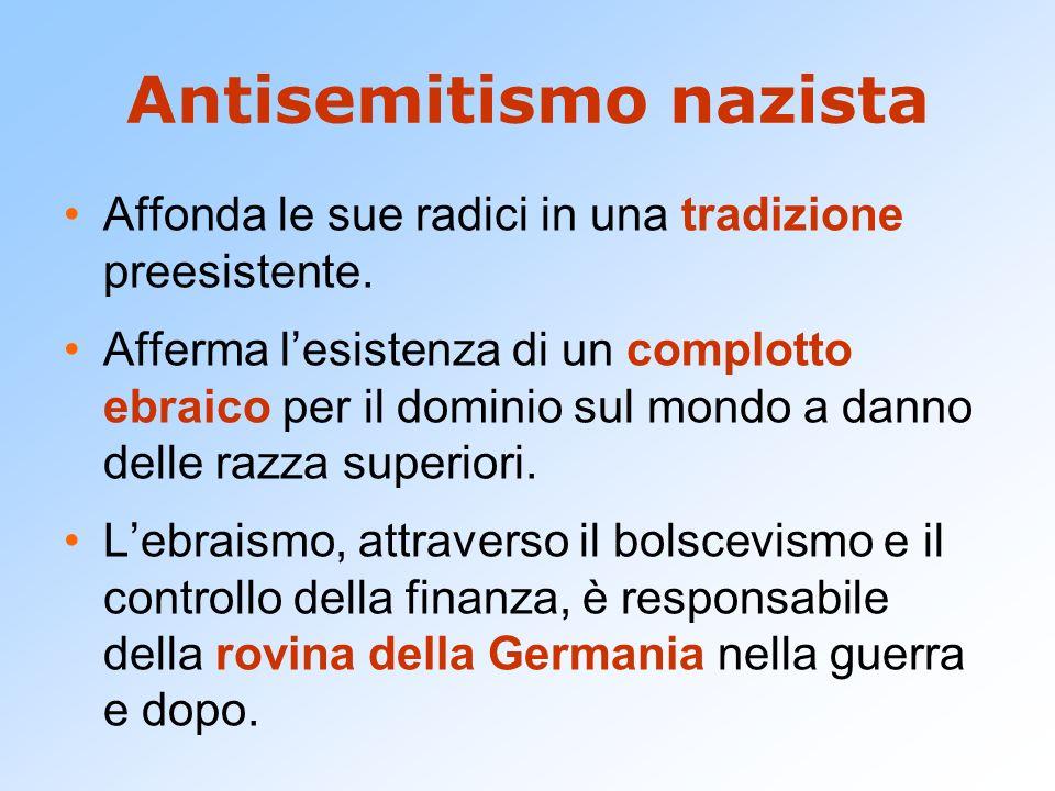 Antisemitismo nazista Affonda le sue radici in una tradizione preesistente. Afferma lesistenza di un complotto ebraico per il dominio sul mondo a dann