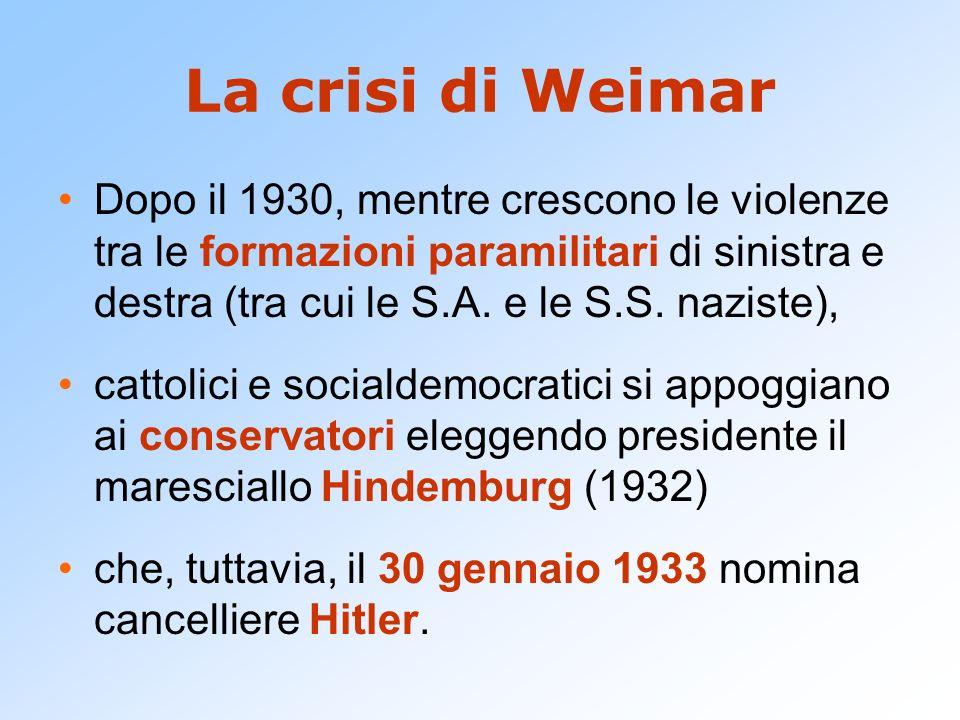 La crisi di Weimar Dopo il 1930, mentre crescono le violenze tra le formazioni paramilitari di sinistra e destra (tra cui le S.A.