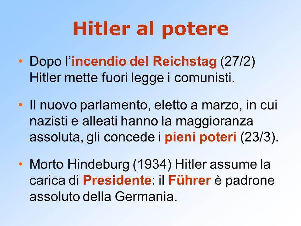 Hitler al potere Dopo lincendio del Reichstag (27/2) Hitler mette fuori legge i comunisti. Il nuovo parlamento, eletto a marzo, in cui nazisti e allea