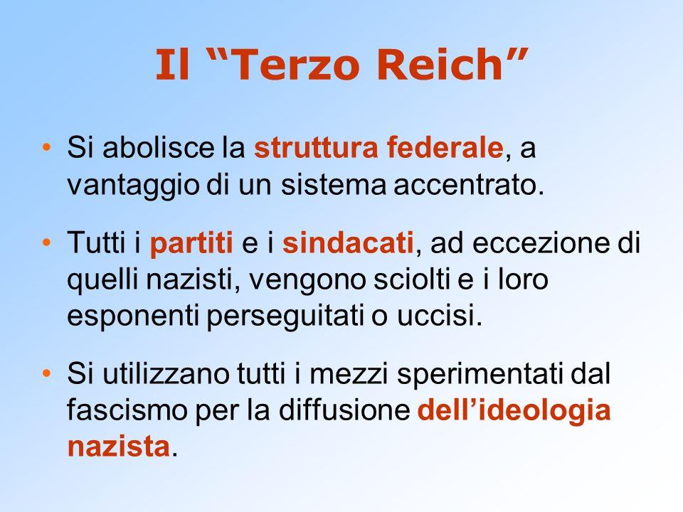 Il Terzo Reich Si abolisce la struttura federale, a vantaggio di un sistema accentrato. Tutti i partiti e i sindacati, ad eccezione di quelli nazisti,