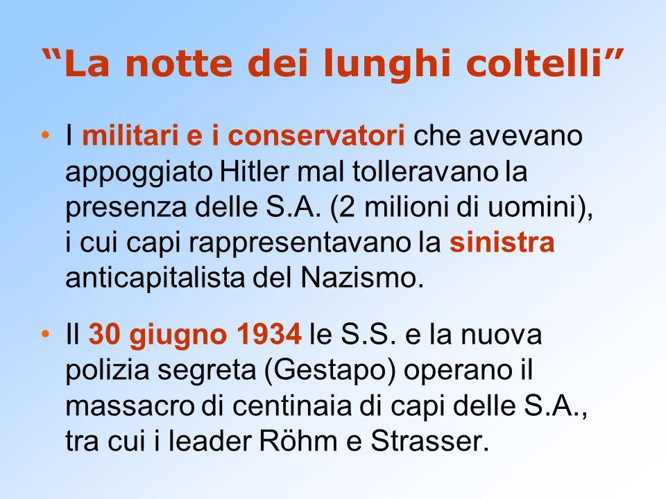 La notte dei lunghi coltelli I militari e i conservatori che avevano appoggiato Hitler mal tolleravano la presenza delle S.A. (2 milioni di uomini), i
