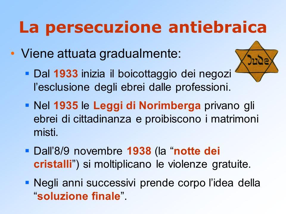 La persecuzione antiebraica Viene attuata gradualmente: Dal 1933 inizia il boicottaggio dei negozi lesclusione degli ebrei dalle professioni. Nel 1935