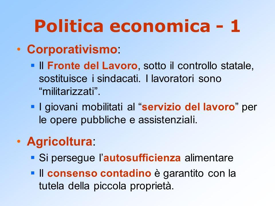 Politica economica - 1 Corporativismo: Il Fronte del Lavoro, sotto il controllo statale, sostituisce i sindacati. I lavoratori sono militarizzati. I g