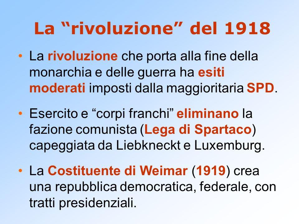 La rivoluzione del 1918 La rivoluzione che porta alla fine della monarchia e delle guerra ha esiti moderati imposti dalla maggioritaria SPD. Esercito