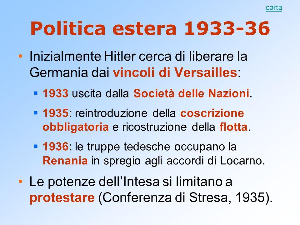 Politica estera 1933-36 Inizialmente Hitler cerca di liberare la Germania dai vincoli di Versailles: 1933 uscita dalla Società delle Nazioni. 1935: re