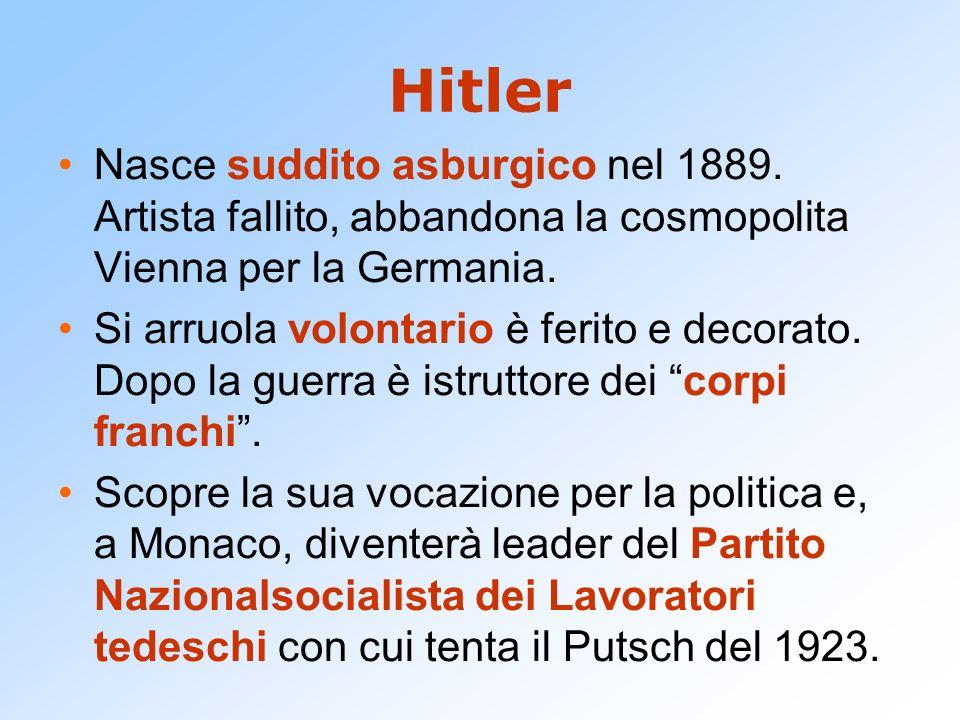 Hitler Nasce suddito asburgico nel 1889. Artista fallito, abbandona la cosmopolita Vienna per la Germania. Si arruola volontario è ferito e decorato.