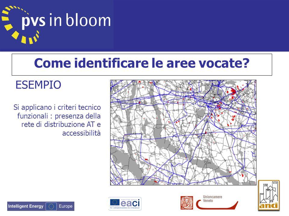 Si applicano i criteri tecnico funzionali : presenza della rete di distribuzione AT e accessibilità ESEMPIO Come identificare le aree vocate?