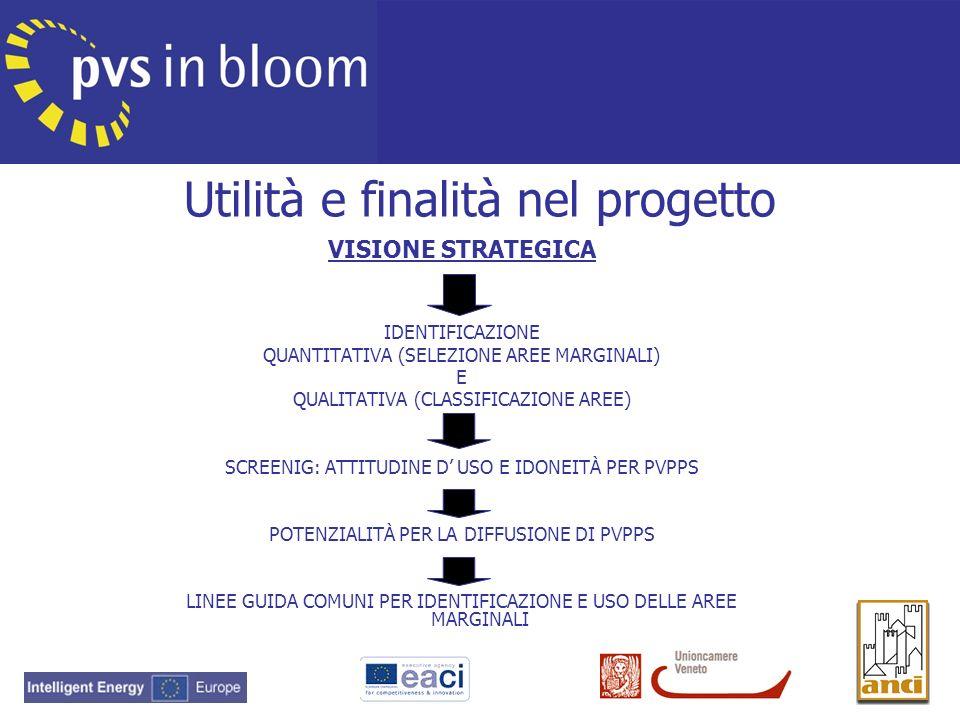 Utilità e finalità nel progetto VISIONE STRATEGICA IDENTIFICAZIONE QUANTITATIVA (SELEZIONE AREE MARGINALI) E QUALITATIVA (CLASSIFICAZIONE AREE) SCREEN