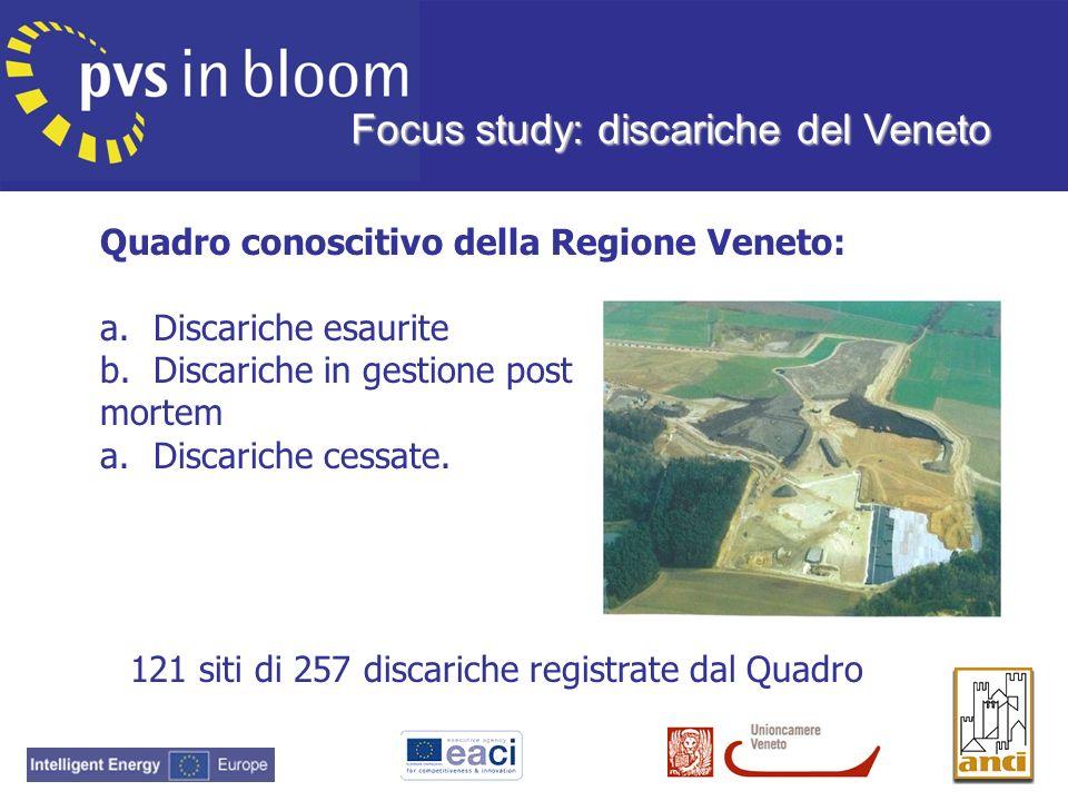 Quadro conoscitivo della Regione Veneto: a.Discariche esaurite b.Discariche in gestione post mortem a.Discariche cessate. 121 siti di 257 discariche r