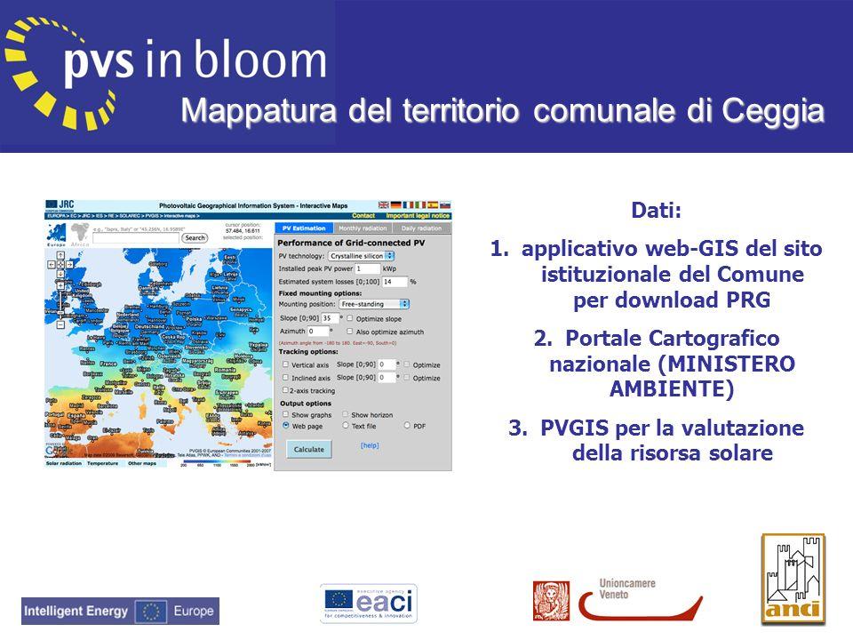 Mappatura del territorio comunale di Ceggia Dati: 1.applicativo web-GIS del sito istituzionale del Comune per download PRG 2.Portale Cartografico nazi