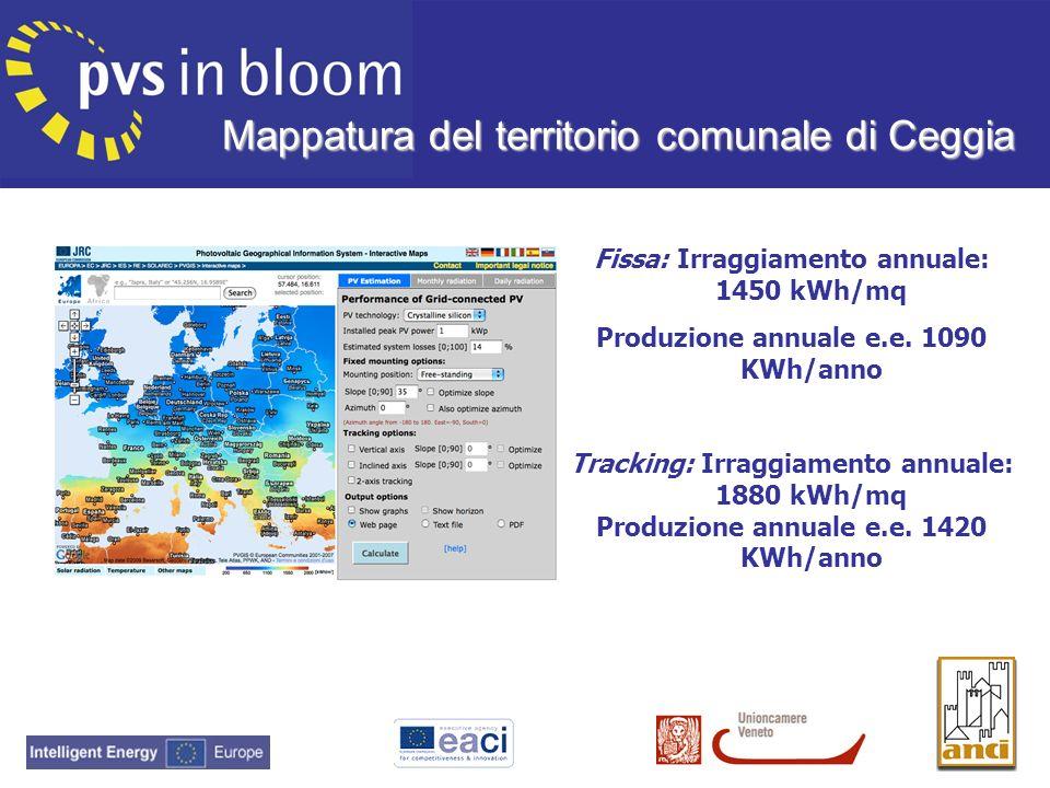 Mappatura del territorio comunale di Ceggia Fissa: Irraggiamento annuale: 1450 kWh/mq Produzione annuale e.e. 1090 KWh/anno Tracking: Irraggiamento an