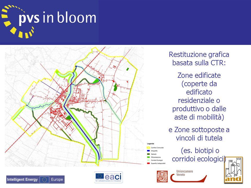 Restituzione grafica basata sulla CTR: Zone edificate (coperte da edificato residenziale o produttivo o dalle aste di mobilità) e Zone sottoposte a vi