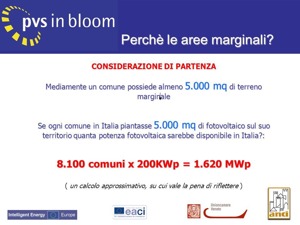 CONSIDERAZIONE DI PARTENZA Mediamente un comune possiede almeno 5.000 mq di terreno marginale Se ogni comune in Italia piantasse 5.000 mq di fotovolta