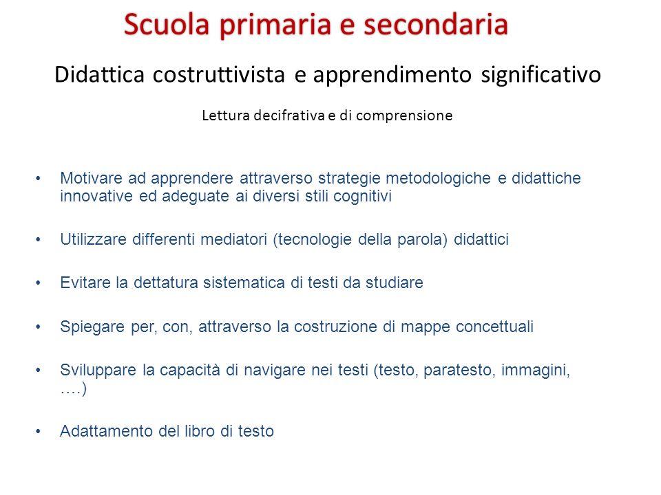 Scuola primaria e secondaria Didattica costruttivista e apprendimento significativo Motivare ad apprendere attraverso strategie metodologiche e didatt