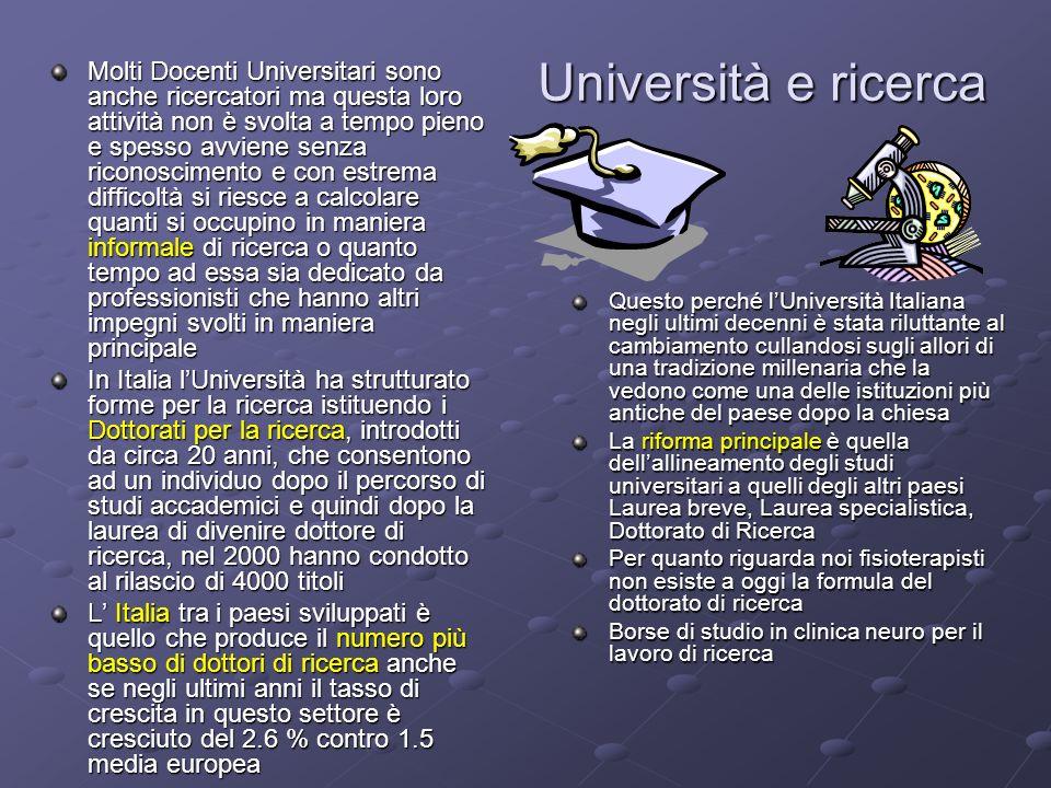 Università e ricerca Molti Docenti Universitari sono anche ricercatori ma questa loro attività non è svolta a tempo pieno e spesso avviene senza ricon