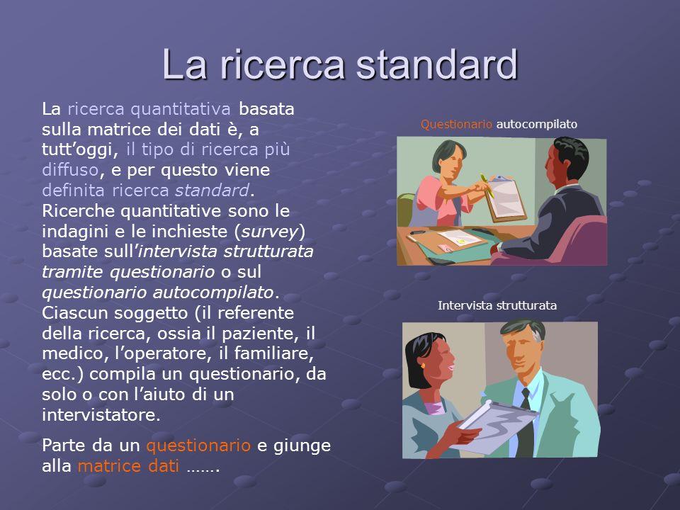 La ricerca standard La ricerca quantitativa basata sulla matrice dei dati è, a tuttoggi, il tipo di ricerca più diffuso, e per questo viene definita r