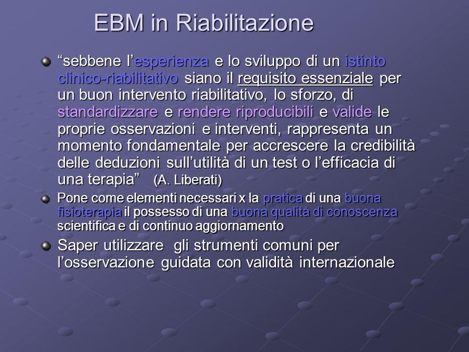 EBM in Riabilitazione sebbene lesperienza e lo sviluppo di un istinto clinico-riabilitativo siano il requisito essenziale per un buon intervento riabi