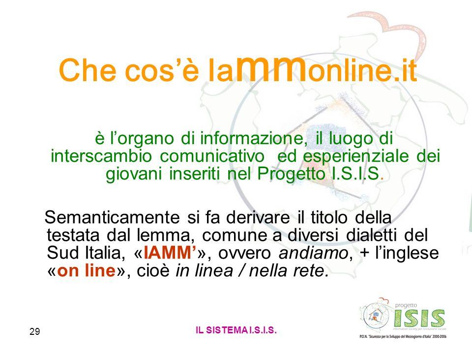 IL SISTEMA I.S.I.S. 29 Che cosè Ia mm online.it è lorgano di informazione, il luogo di interscambio comunicativo ed esperienziale dei giovani inseriti