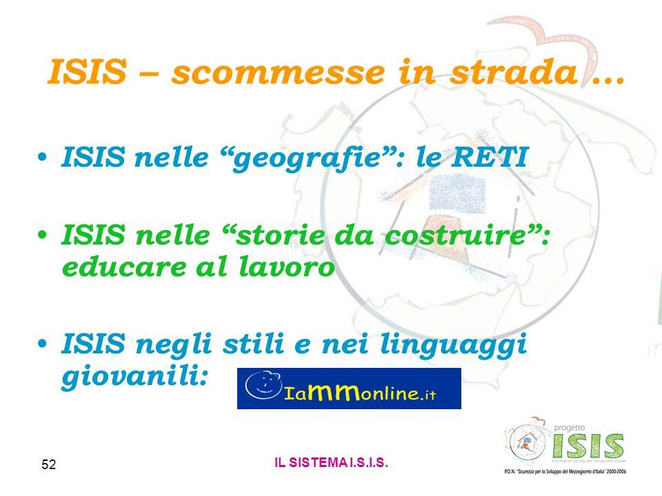 IL SISTEMA I.S.I.S. 52 ISIS – scommesse in strada … ISIS nelle geografie: le RETI ISIS nelle storie da costruire: educare al lavoro ISIS negli stili e
