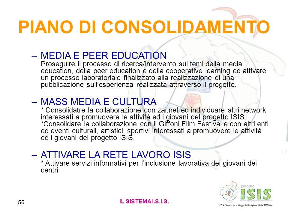 IL SISTEMA I.S.I.S. 56 PIANO DI CONSOLIDAMENTO –MEDIA E PEER EDUCATION Proseguire il processo di ricerca/intervento sui temi della media education, de