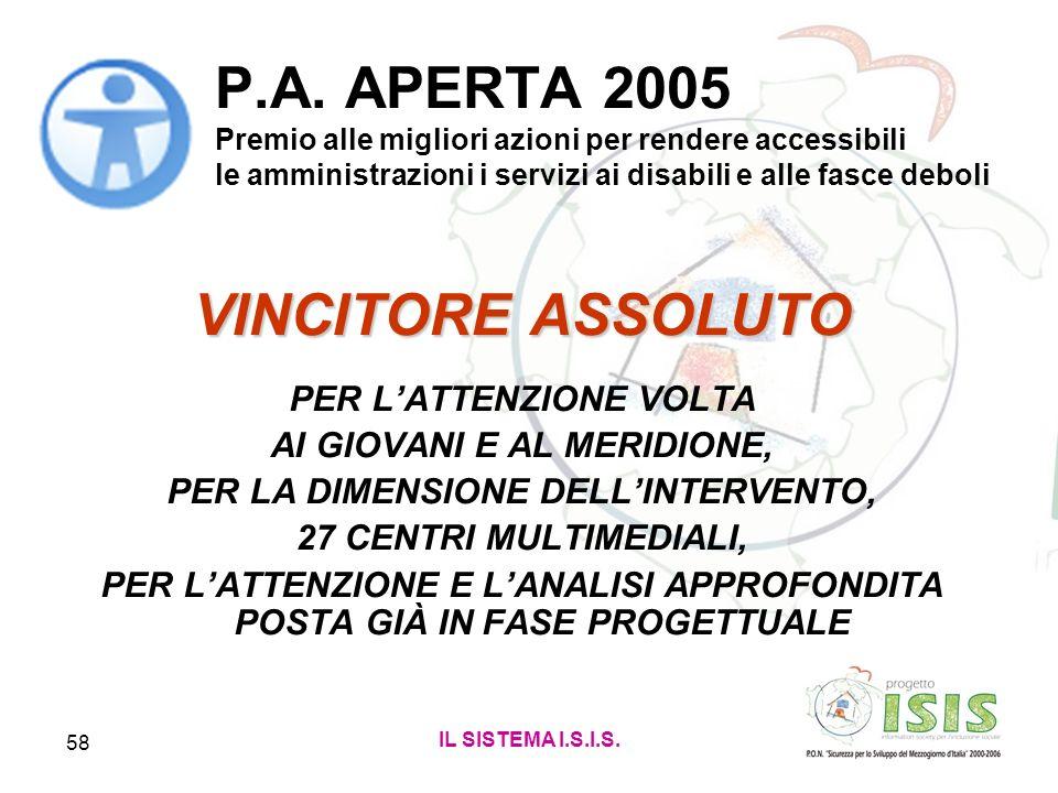 IL SISTEMA I.S.I.S. 58 P.A. APERTA 2005 Premio alle migliori azioni per rendere accessibili le amministrazioni i servizi ai disabili e alle fasce debo