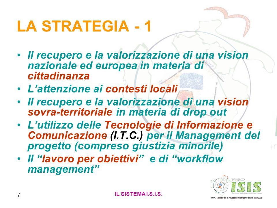 IL SISTEMA I.S.I.S. 7 LA STRATEGIA - 1 Il recupero e la valorizzazione di una vision nazionale ed europea in materia di cittadinanza Lattenzione ai co