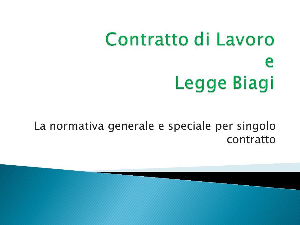 La normativa generale e speciale per singolo contratto