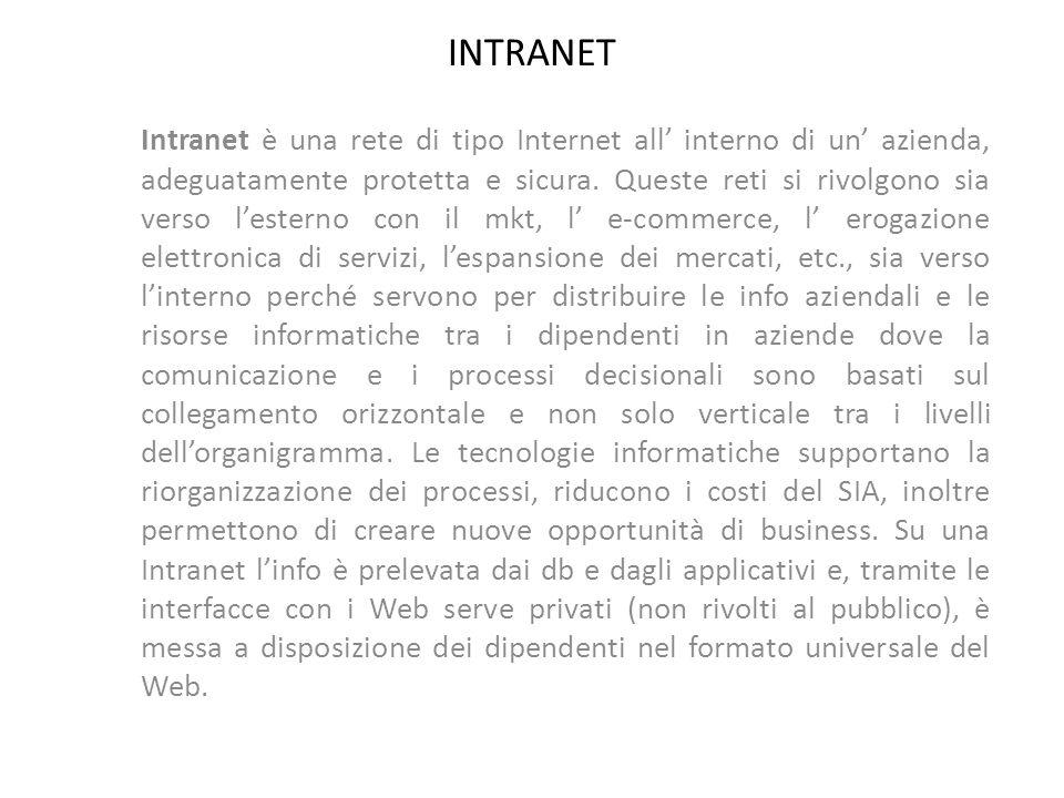 INTRANET Intranet è una rete di tipo Internet all interno di un azienda, adeguatamente protetta e sicura. Queste reti si rivolgono sia verso lesterno